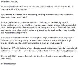 Finance Assistant Resume Cover Letter by Finance Assistant Cover Letter Sle Livecareer Finance