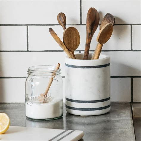 utensil holder kitchen magnolia marble adelaide stripe storage cooking designs kitchens striped decor tools containers collection