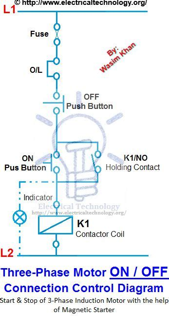 3 Pole Push Button Diagram by On 3 Phase Motor Connection Diagram