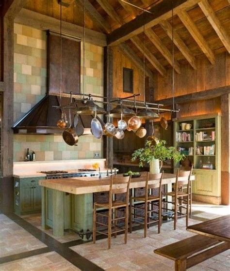 wooden high ceiling designs  kitchen  hanging pot