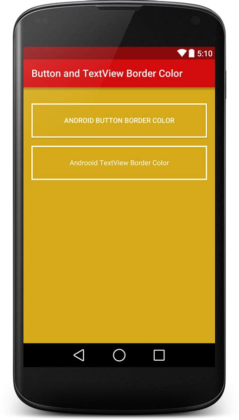 button color html how to set android button and textview border color