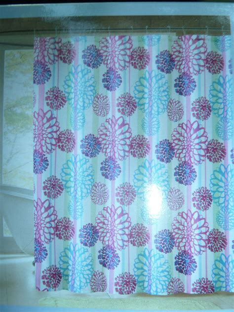 pink blue large floral themed fabric shower curtain 72