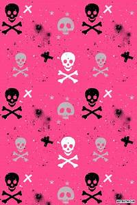 Paint Splatter Skulls and Crossbones on Hot Pink iPhone
