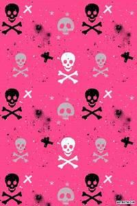 Paint Splatter Skulls and Crossbones on Hot Pink iPhone ...