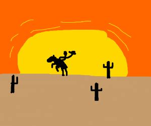 mjazza riding  horse    sunset drawception