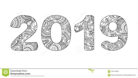 Zen Doodle Patterned Number 2019 Small 2 Stock Vector
