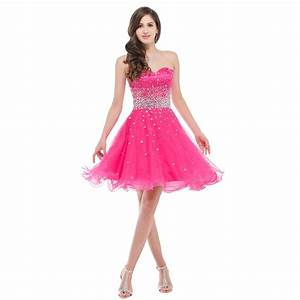 Grace Karin CL6145 Strapless Short Organza Hot Pink Deep ...