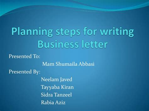 planning steps  writing business letter