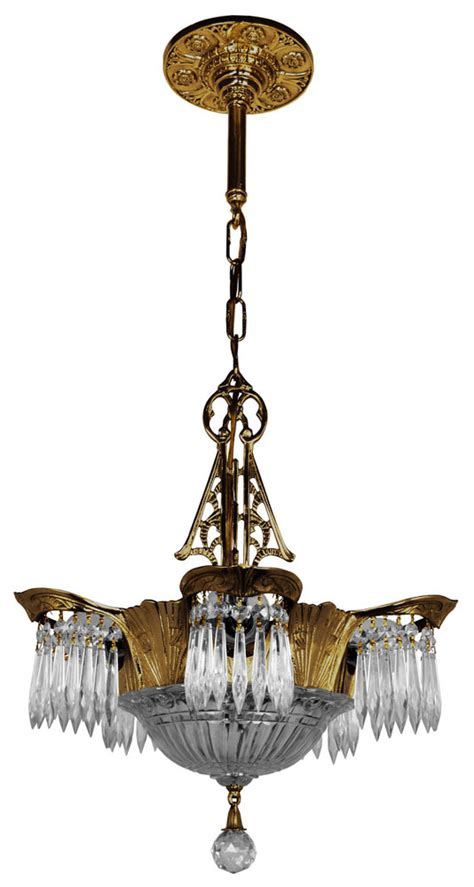 antique art deco ls art deco crystal prism lincoln utopia chandelier modernism