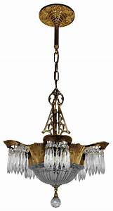 Art deco crystal prism lincoln utopia chandelier modernism