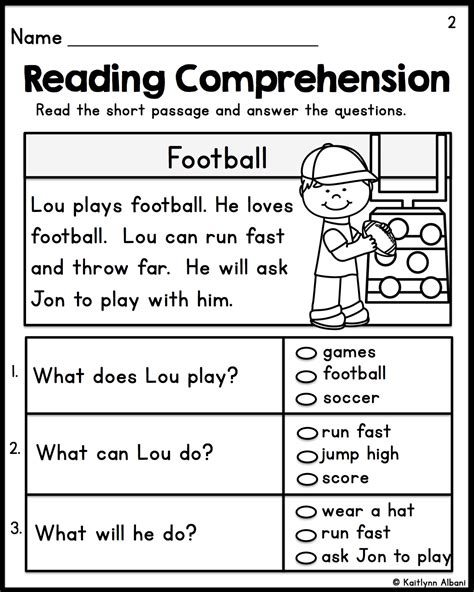 kindergarten reading comprehension passages set 1