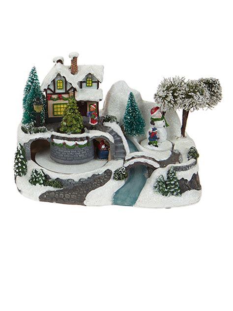 animated christmas village with train animated led house decoration ornament traditional ebay