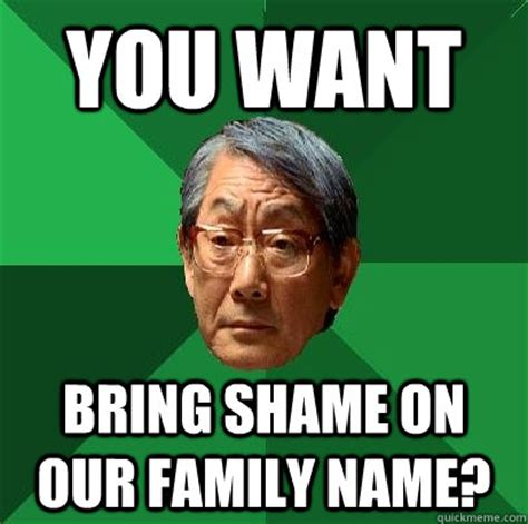 Shame Meme - you want bring shame on our family name high expectations asian father quickmeme