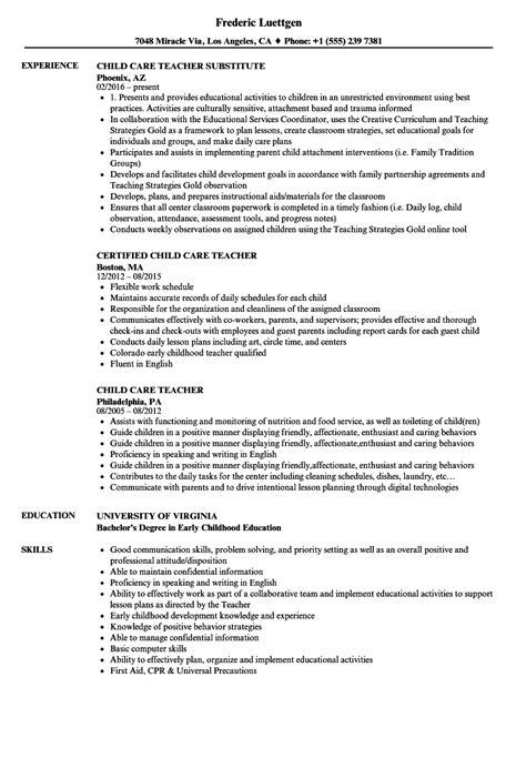 Child Care Resume Skills by Child Care Resume Sles Velvet