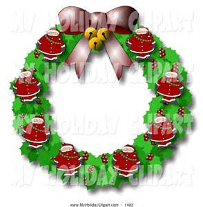 Santa and Christmas Wreath Clip Art