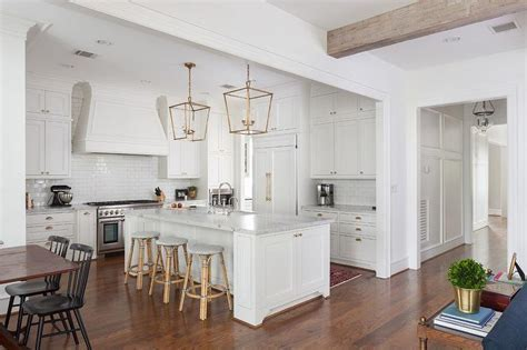 White KItchen Island with Backless French Bistro Stools