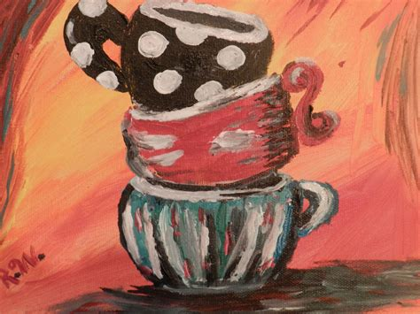 Pin it pin on pinterest. coffee cup painting i did. Original acrylic on canvas ...