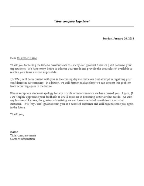 Customer Service Complaint Response Letter Template