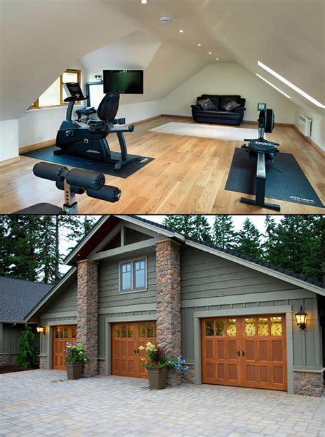 car garage  gym upstairs garage plans  house  homes