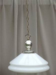 Vintage industrial pendant lights w huge milk glass lamp