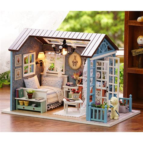 diy doll house  lights miniature furniture kit wooden