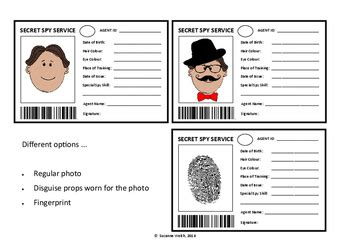 spy id card secret agent template  suzanne welch