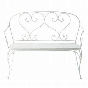 banquette de jardin 2 places en fer forge ivoire saint With meubles tv maison du monde 14 fauteuil de salon en fer forge