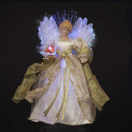 lighted christmas angel tree topper 12 quot ivory and gold lighted fiber optic tree topper walmart