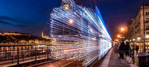Led Lights Long Exposure Turn Budapest Trams