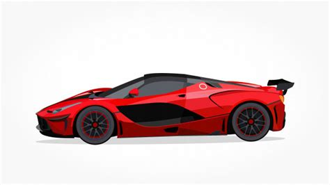 Red Sports Car Cartoon With Detailed Side And Shadow