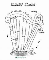 Maze Harp Coloring Games Printable Template Channel Worksheets Mazes Activity Held Irish Pals sketch template