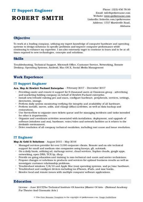 support engineer resume samples qwikresume