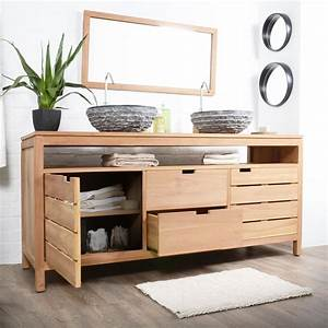Davausnet meuble salle de bain bois exotique avec des for Meuble salle de bain bois pas cher