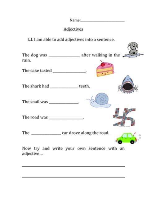 missing adjectives sentence worksheet  nangamy