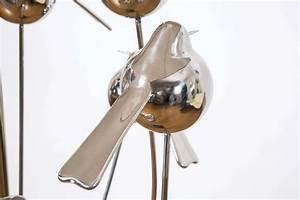 inoxydable steel birds floor lamp 2014 by rene broissand With metal floor lamp with birds