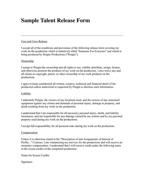 free talent release form talent release form in word and pdf formats