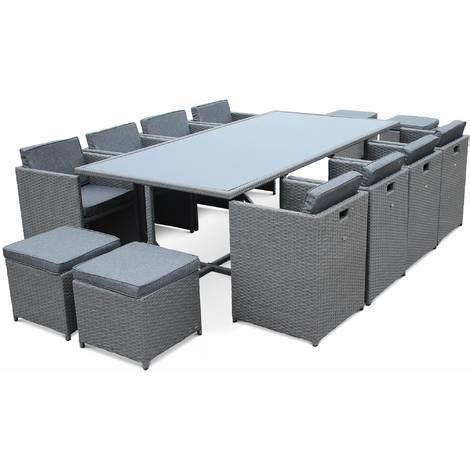 Salon de jardin Vasto Gris table en ru00e9sine tressu00e9e 8 u00e0 12 places fauteuils encastrables