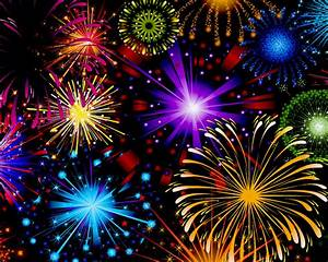 Celebration Fireworks In Red Blue Yellow And Green Color ...