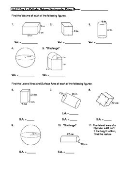geometry unit 7 cylinder sphere rectangular prism surface area volume worksheet