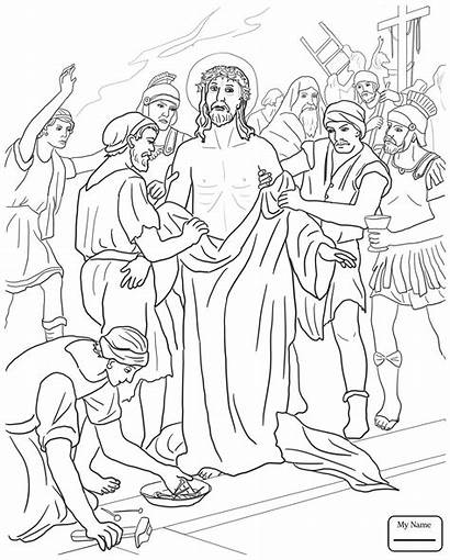 Jesus Coloring Station Pages Clothes Taken Tenth