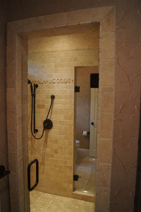 Master walk through shower   Contemporary   Bathroom   dc