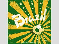 Grunge Brazil background with a soccer ball Vector Free