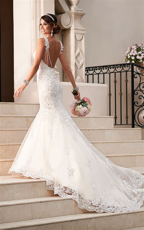 fit and flare dress wedding satin lace fit and flare wedding dress stella york wedding dresses