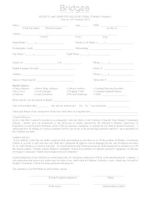 temporary fillable medical release form for children