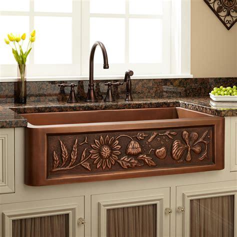 farm style kitchen sink 36 quot floral design copper farmhouse sink kitchen