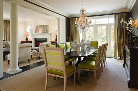 chartreuse chairs transitional dining room graciela