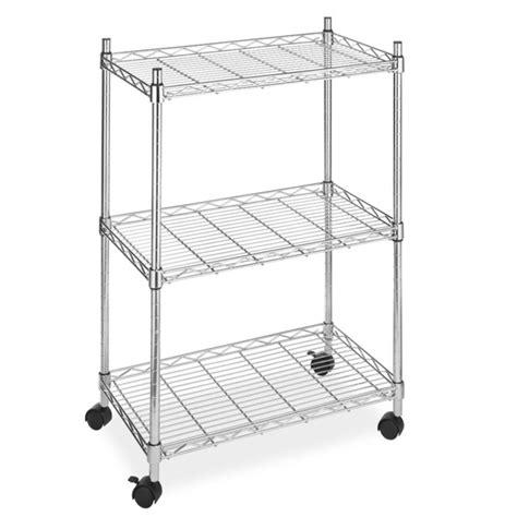 New Wire Shelving Cart Unit 3 Shelves Wcasters Shelf Rack