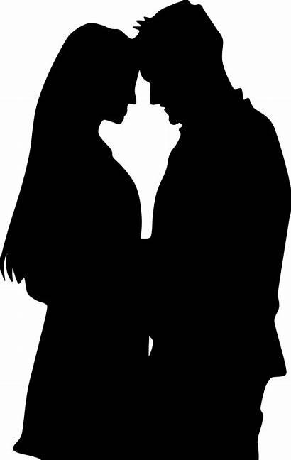 Silhouette Couple Clipart Romantic Transparent Romance Lovers