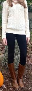 Outfit post cream cable knit sweater black skinny jeans brown riding boots