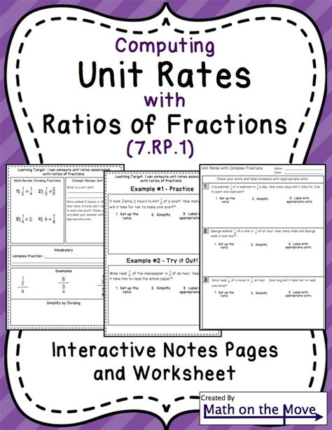 7th grade math worksheets on unit rates homeshealth info